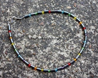 Rainbow Anklet - Beaded Anklet With Rainbow Colors - Hematite Anklet - Bohemian - Hippie - Women - Men - Ankle Bracelet - Two Feathers