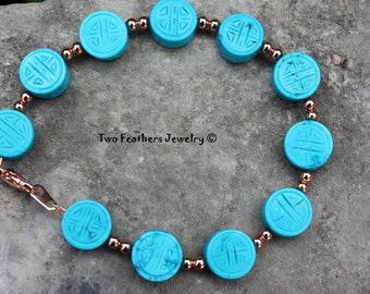 Carved Turquoise And Copper Bracelet - Turquoise Bracelet - Beaded Bracelet - Tribal - Gift For Her - Blue Stone Jewelry - Made In USA