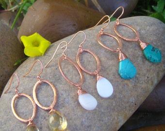 Copper Earrings - Gemstone Earrings - Choose your Color - Custom Earrings - Oval Earrings - Small Dangle Earrings - Gift for her - Handmade