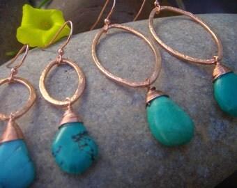 Copper Turquoise Earrings  - Copper Earrings - December Birthstone - Small Dangle Earrings - Marquise Earrings - Two Sizes