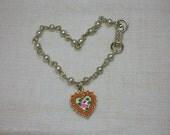 Retro Child Bracelet, Rose Heart Faux Coral & Pearl Beads, Guilloche Enamel