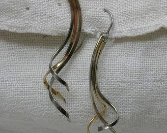 Silver Vermeil Earrings, Swirling Abstract, Waterfall, Curvy Retro Era