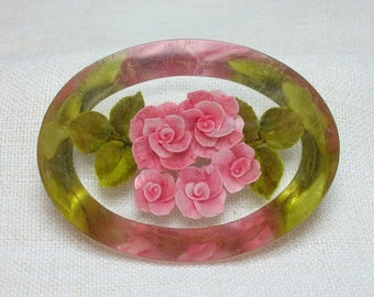 Reverse Carved Lucite Brooch, Pink Roses, 1950s, Gorgeous example