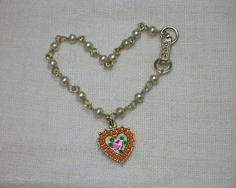 Heart Bracelet. 1960s Faux Coral & Pearl Beads, Guilloche Enamel
