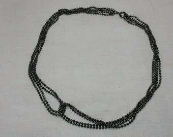 Ball Chain Necklace, 1980s New Wave, 4 Strands, 16 inches. Black Silvertone