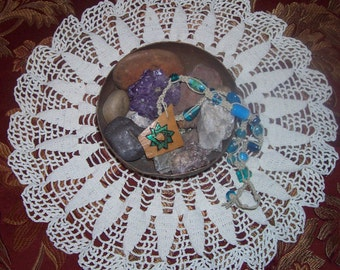OOAK Baha'i Nine Pointed Star Gourd and Hemp Necklace with glass beads