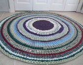 Heavy Round Crocheted 5 foot Rag Rug