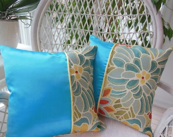 Turquoise Decorative Pillow - Kaleidoscope Of Flowers Collection - Turquoise / Sunny Yellow Flower Designer Pillow - Reversible 15 x 15 Inch
