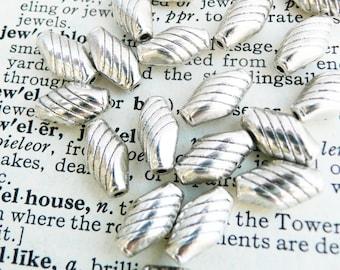 Tibetan silver beads, shuttle antique silver 40 pcs