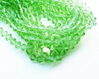 emerald crystal beads, bicone crystal beads, 6mm bicone beads,