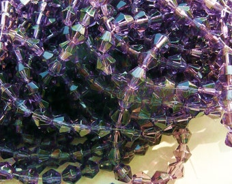 amethist crystal beads, bicone crystal beads, 6mm bicone beads,