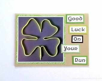 Good Luck On Your Run Shoestring Shamrock Handmade Running Greeting Card for Runners (Blank Inside) - Marathon, Half Marathon, 10K, 5K