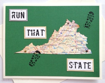 Virginia - Run (or RAN) That State Handmade Running Greeting Card for Marathon, Half-Marathon, 10K, 5K Runners