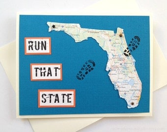 Florida - Run (or RAN) That State Handmade Running Greeting Card for Marathon, Half-Marathon, 10K, 5K Runners