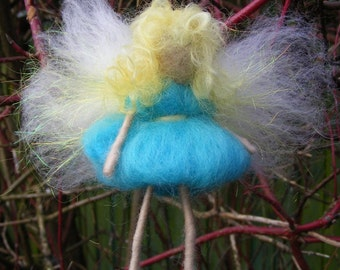Needle Felted Blossom Fairy in a Turquoise Dress