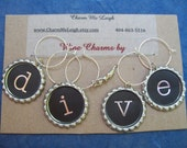 Diver dive wine glass charms for the wine lover in your life....