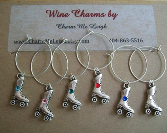 6 wine glass charms for the roller skater & wine lover in your life....Roller derby