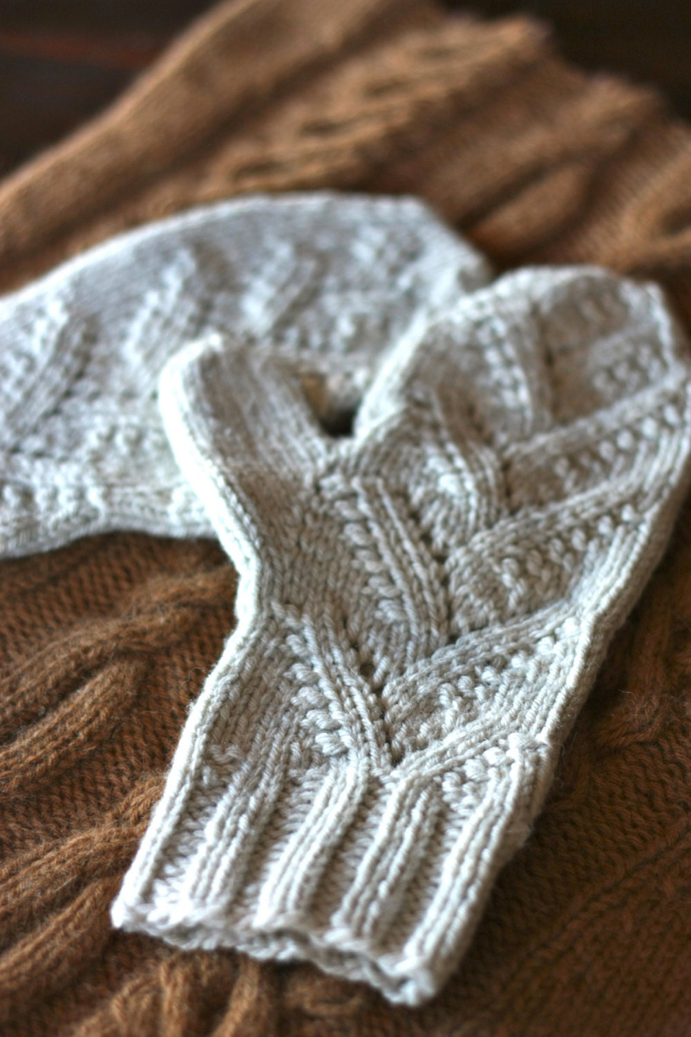 Lace Mittens Knitting Pattern : Knitting Pattern PDF Adiri Lace Mittens with Under-Mittens