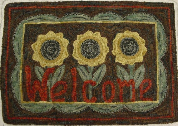 "Rug Hooking PATTERN, ""Sunflower Welcome"" 18"" x 28"" , J653, Hooked Sunflowers, Primitive Sunflowers"