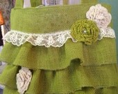 Chartreuse burlap ruffled shabby purse tote bag ready to ship