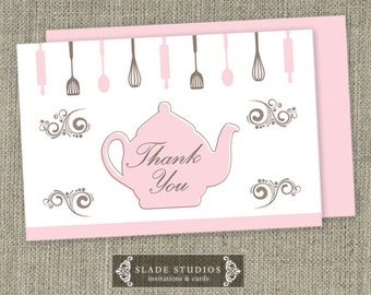 Kitchen Tea - Bridal Tea Party Thank you Cards Printable. Available for download TODAY.
