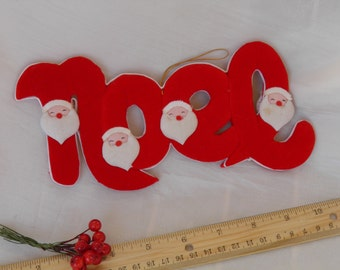 Vintage Decor Santa NOEL Sign - Red and White - Sweet Santa Claus Decoration