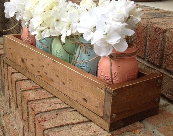 Items Similar To Custom Made Rustic Planter Box Wtih 5