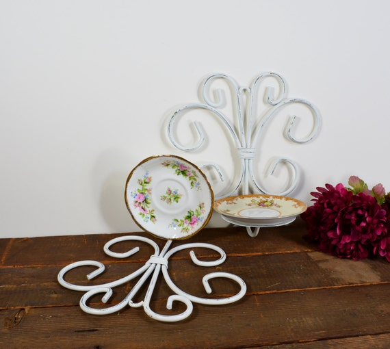 Candle sconces / wall sconce with vintage china / distressed white finish / cottage chic / shabby chic / Upcycled.