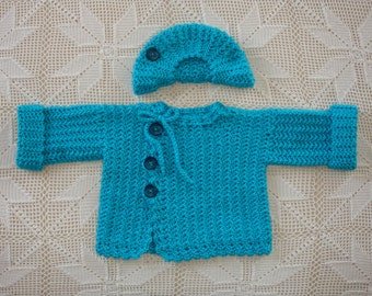 9-12 month Crochet Turquoise Baby Boy's Sweater with matching Tam Hat