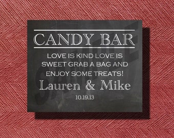 Chalkboard Wedding Candy Bar Sign