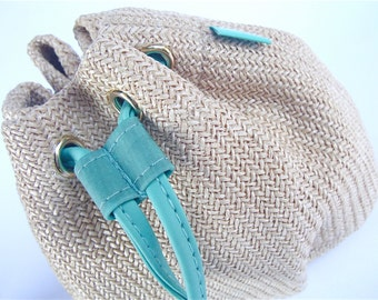 Vintage Beige Purse Woven Hermes Drawstring Pouch Novelty Amazone Pouch Cosmetic Gift  MakeupTurquoise Promotion Bag