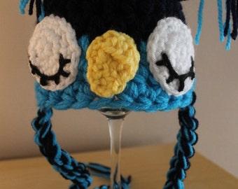 Blue sleepy owl hat, Newborn photography prop/ baby gift. Newborn size owl hat