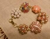 vintage cluster beaded pearl earring bracelet pink bridesmaid