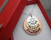 Personalised family pendant,metal stamped jewellery, mixed metal necklace