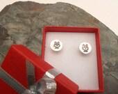 Sterling silver owl earrings, metal stamped owl studs, bird earrings
