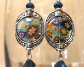Blue Milifiori glass earrings