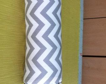 Gray Chevron  Zig Zag Ring Bolster Pillow 17 Inches Long