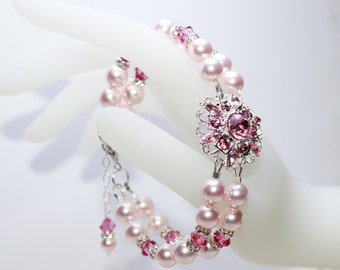Light Pink Rhinestone Wedding Bracelet, Crystal Pink Pearl Bridal Bracelet, Bridesmaids Bracelet, Pink Pearl Bracelet