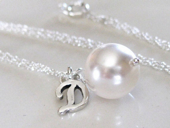 Initial Charm Pendant, Pearl Drop Bridal Jewelry, Bridesmaids Gifts, Wedding Jewelry, Bridesmaids Jewelry