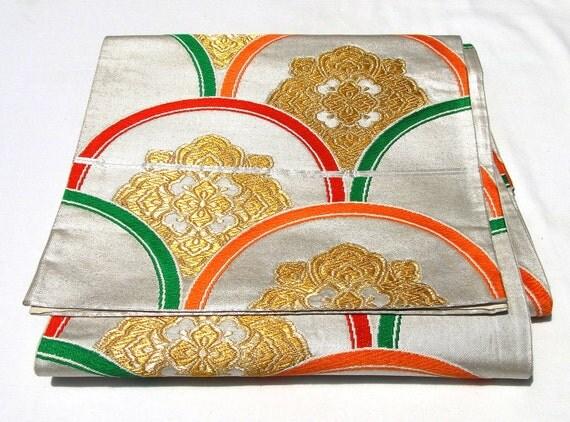 Silk Obi, Retro Multi-coloured Half-Circles with Gold Detail (Ref: CF020)