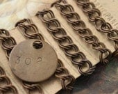 3FT Deco Ornate Brass Vintage Patina Dual Linked Style Chain