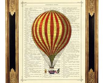 Airship Balloon III - Vintage Victorian Book Page Art Print Steampunk
