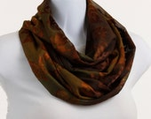 Elegant Infinity scarf - Rich Copper Floral BurnOut on a subtle Green Background - neckStyles