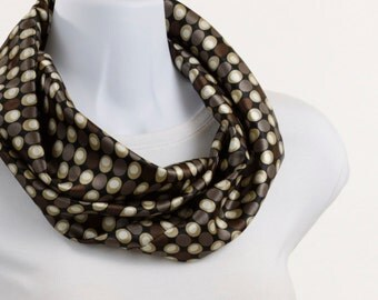 Silky Infinity Scarf - Brown Tan Cream and Black ~ SK015-S5