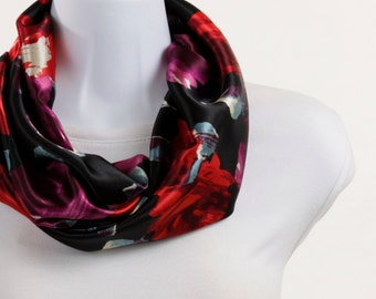 Silky Infinity Scarf - Rich Red Floral on Black ~ SK079-S5
