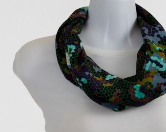 Infinity Scarf Multicolored Jewel Tones with a Honeycomb design - Silky ~ SK121-S1