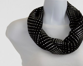 DAZZLING Infinity Scarf with Silver Bling on Black Sheer ~ SH182-S1