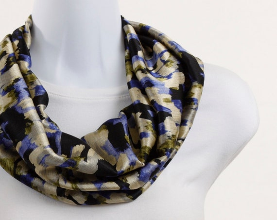 Satin Scarf Infinity Loop Scarf Sophisticated Satin Cobalt blue, Tan Black ~ SK017-S5