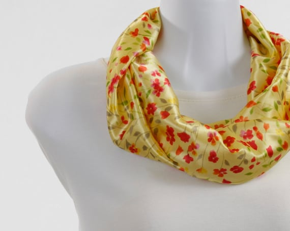 Short Infinity Scarf SWEET Floral Silky - Shades of Red and Pink with Green and Taupe Leaves on Lemon Zest Yellow ~ SK120-S1