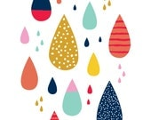 "Colorful raindrops 8""x10"" print by Let's Die Friends drips"